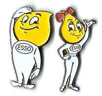 ESSO - E2 - COUPLE - 2 Pin's - Verso : RECTANGLES - Fuels