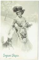 Illustrateur V.K.Vienne. Femme. Enfant Et Chien. Joyeuses Pâques. - Pascua