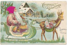Christmas Greetings - Santa With Wine Colored Silk Hat, Sleigh, Raindeer, Toys - Embossed, Mailed 1907 -  Made In Austri - Santa Claus