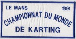 E01- LE MANS 1991 - Ecusson 27,5 X 13,5 - Championnat Du Monde De Karting - Ecussons Tissu