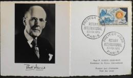 France Carte 1er JOUR 1955 - Rotary International - Paul Harris - Paris Le 23.02.1955 - 1950-59