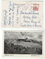 1939 PALESTINE Stamps COVER (postcard JERUSALEM  MOUNT ZION)  To USA - Palestine