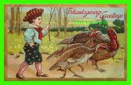 THANKSGIVING - GREETINGS - TWO TURKEYS - TRAVEL IN 1909 - LITTEL BOY - - Thanksgiving