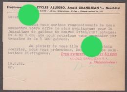 NEUCHATEL 1952 Cycles Cycle Vélos Vélo ALLEGRO  ARNOLD GRANDJEAN - NE Neuchâtel