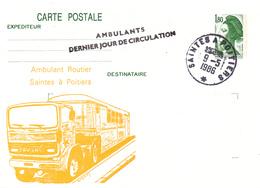 """CP France """"Ambulant Dernier Jour"""" Saintes à Poitiers 09/05/86 - Marcophilie (Lettres)"""