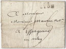 LAC De Lyon Vers Iffirgeane En Veley 1792 - Postmark Collection (Covers)
