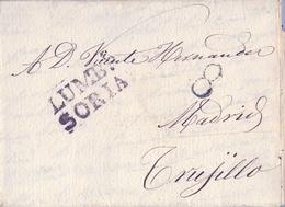 PREFILATELIA , 1841  , CARTA COMPLETA  , SORIA , VILLOSLADA - TRUJILLO  , MARCA DE LUMBRERAS T. 1 - ...-1850 Voorfilatelie
