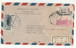 1952 Registered SYRIA Stamps COVER To UN USA United Nations Airmail - Syria