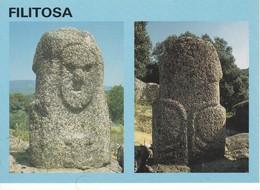 Postcard Menhir Standing Stone Filitosa Corse De Face Et De Dos My Ref  B22977 - Dolmen & Menhirs