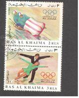 Asie - Emirats Arabes Unis - Ras Al-Khaima - Winter Olympics 1968, Grenoble - Bobsleigh And Figure Skating - Ras Al-Khaima
