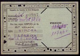 PASSE / ASSINATURA Companhia Dos Caminhos De Ferro Portugueses SINTRA LISBOA 1946. Pass Ticket TRAIN Portugal - Abonnements Hebdomadaires & Mensuels