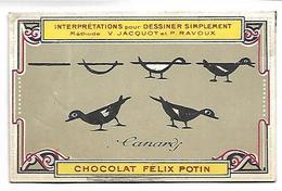 CHROMO - CHOCOLAT FELIX POTIN - Interprétations Pour Dessiner Simplement - Canards - Chocolat