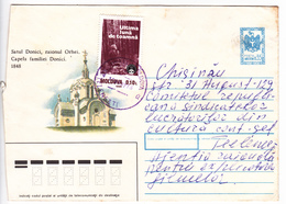 MOLDOVA   MOLDAVIE   MOLDAWIEN   MOLDAU  1992 Church , Architecture ,  Cinema , Used Pre-paid Envelope - Moldova