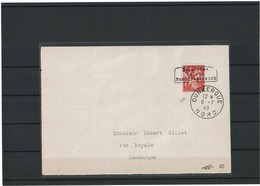 LBR40B - II GM DEVANT DE LETTRE AVEC IRIS 1fr OBL. DUNKERQUE 6/7/1940 SIGNEE - Marcophilie (Lettres)