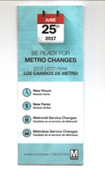 Washington METRO Subway And Bus - Fare And Service Changes June 2017 Brochure - Railway