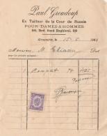 EGYPTE ALEXANDRIE FACTURE PAUL GROUDOUP TAILLEUR COUR DE RUSSIE 1943 + FISCAL-                        TDA269A - Invoices & Commercial Documents