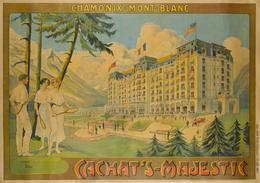 France Travel Postcard Chamonix Cachat's-Majestic Hotel (tennis) 1914 - Reproduction - Publicité