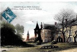 Vierville Sur Mer.Le Chateau ,l'église Et La Tour Du Chateau De Vierville Sur Mer. - France
