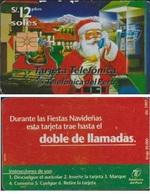 PEROU 12 SOLES TELECARTE PERE NOEL 1997 TIR 20 M PUCE GEM1 - Peru