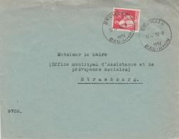 Env Affr Y&T 283 Obl BRUMATH Du 10.8.1934 Adressée à Strasbourg - Elzas-Lotharingen