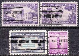 USA Precancel Vorausentwertung Preo, Locals Vermont, Essex Junction 704, 4 Diff. - Vorausentwertungen