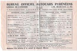 DOCUMENT GARAGE DE L'UNIVERS LOURDES 65 HAUTES-PYRENEES BUREAU OFFICIEL AUTOCARS TARIFS HORAIRES ITINERAIRES - Europa