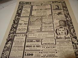 ANCIENNE PUBLICATION PROGRAMME THEATRE ET CINEMA A PARIS 1940 - Publicité
