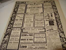 ANCIENNE PUBLICATION PROGRAMME THEATRE ET CINEMA A PARIS 1940 - Unclassified