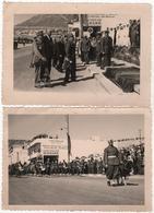 Photo Originale Lot De 2 Par Richard Agadir Maroc Militaria Officiers Personnalités Défilé Fanfare Beau Format - Krieg, Militär