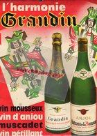49- INGRANDES SUR LOIRE- RARE PUBLICITE GLACOIDE GRANDIN-VIN MOUSSEUX ANJOU MUSCADET-A. LAFON & FILS BORDEAUX- ORPHEE - Plaques Publicitaires