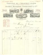 FACTURE 1914 INDUSTRIE LINIERE GUÉRIN BESSIERE VANDESMET RUE D'UZES PARIS 2 è - CAMBRAI ABBEVILLE FRÉVENT VERVINS St POL - Vestiario & Tessile