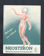 PUBLICITÉ AFFICHE OU CARTE ANDROGÈNE NON VIRILISANT NEOSTERON ENDOÀ PARIS RUE DE LA PROCESSION 1952 : : - EMA (Printer Machine)