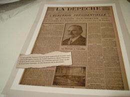 AFFICHE COUVERTURE LA DEPECHE GASTON DOUMERGUE PRESIDENT 1924 - Altri