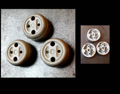 Lot Art Déco D'origine: 3 Prises Identiques Porcelaine / Vintage Art Deco Electrical Ceramic Plugs LOFT - Lamps