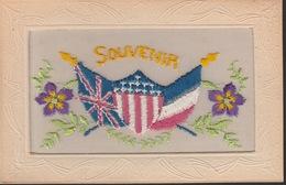 18/9/242  -   SOUVENIR  CARTE  BRODÉE  AVEC  DRAPEAUX - Embroidered