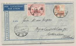 Nederlands Indië - 1930 - 30 Cent Opdruk Op LP-zegel Met 1e Terugvlucht 14-daagse Dienst Van Weltevreden Naar Rotterdam - Nederlands-Indië