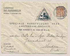 Nederlands Indië - 1933 - Zilvermeeuw Kerstvlucht Van Amsterdam Naar Medan - Niederländisch-Indien