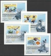 B150 !!! IMPERFORATE 2008 GUINE-BISSAU FAUNA BIRDS & MARINE LIFE ELEFANTES 4 LUX BL MNH - Vögel