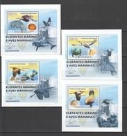 B151 2008 GUINE-BISSAU FAUNA ANIMALS MARINE MAMMALS BIRDS ELEFANTES 4 LUX BL MNH - Vögel