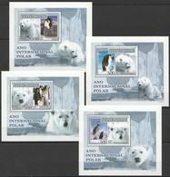 B156 2007 GUINE-BISSAU FAUNA POLAR YEAR PENGUINS WHITE BEARS 4 LUX BL MNH - Briefmarken
