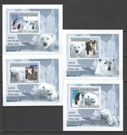 B157 !!! IMPERFORATE 2007 GUINE-BISSAU FAUNA POLAR YEAR PENGUINS WHITE BEARS 4 LUX BL MNH - Briefmarken