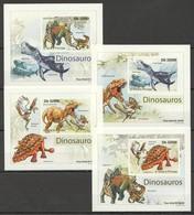 B158 IMPERFORATE 2011 S.TOME PRINCIPE REPTILES DINOSAURS DINOSAUROS 4 LUX BL MNH - Briefmarken