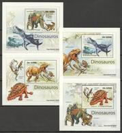B159 2011 S.TOME PRINCIPE REPTILES DINOSAURS DINOSAUROS 4 LUX BL MNH - Briefmarken
