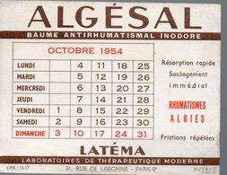 Paris Rue De Lisbonne : Buvard ALGESAL Octobre 1954 (PPP14929) - Chemist's