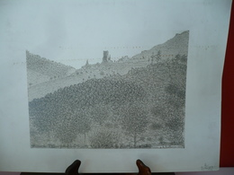 Château Féodal De La Tourette (Vernoux En Vivarais 07240) Dessin Au Crayon Signé A. BELLEMIN 1935 Dessin Ou Lithographie - Dessins
