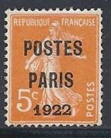 FRANCE - 5 C. POSTES PARIS 1922 - Préoblitérés