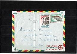LBR40B - REP. DU CONGO LETTRE AVION JACOB / ROUEN 7/1/1965 - République Du Congo (1960-64)