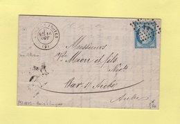 Gare De Troyes - 9 - Aube - Obliteration PL - Amublant Paris A Langres - 16 Oct 1873 - Railway Post