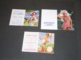 3 CALENDRIERS PUBLICITAIRES  AVEC PIN UP (2 Années 60 Et 1 De 2002). Verviers.Dison. Monceau/Sambre - Calendars