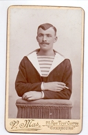 Foto  Photo Carton - Militair Soldat Matelot - Photographe V. Mas - Cherbourg - Krieg, Militär